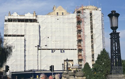 The Empire Hotel, wrapped and undergoing cleaning, January 1996