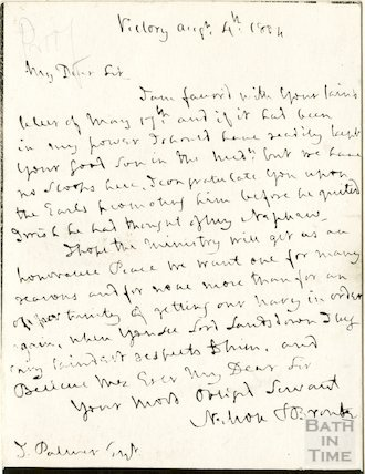 Photo of Nelson's letter to John Palmer from Bath, August 4th 1804