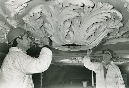 Assembly Rooms, Ball Room, restoration of ceilings, March 1990