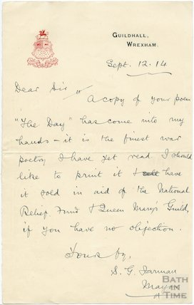 Autograph letter from The Mayor of Wrexham to Henry Chappell, Sept 12 1914