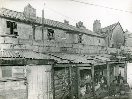 Rear of Avon Street from yard with chickens, c.1930