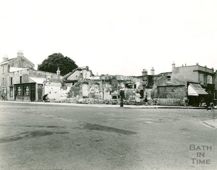 Wellsway, Bear Flat showing the bombed Bear Inn, c.1940s