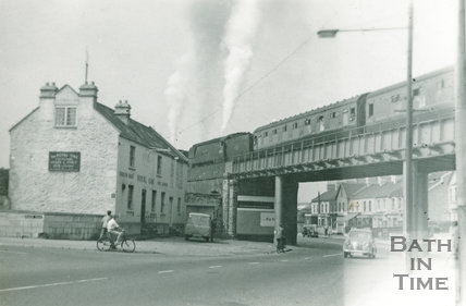 Class 5 Somerset & Dorset train crosses the Red Bridge over the Lower Bristol Road, 8 August 1959