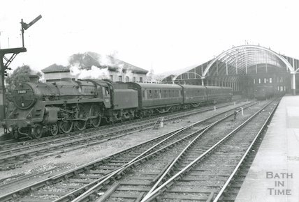 Class 5 No.73051 departing Bath Green Park station, c.1960s