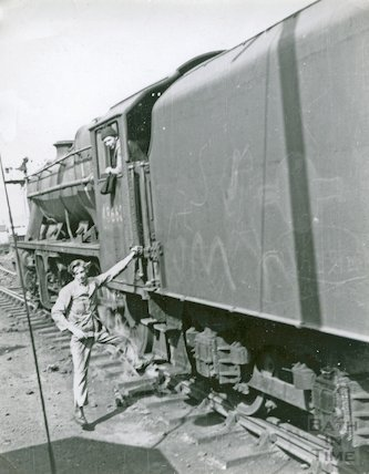 The photographer beside Engine No.4866x, c,1960