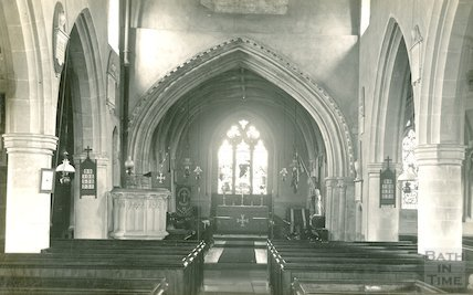 Interior of St Michael & All Angels church, Urchfont, c.1930s