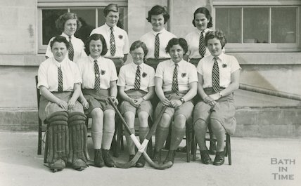 Unidentified girls hockey team, probably from Bath, c.1930s