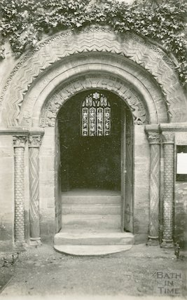 Unidentified Norman arched doorway to church, c.1920s
