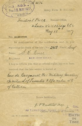 Confirmation of burial of Sergeant Sidney Bence, 18 May 1917