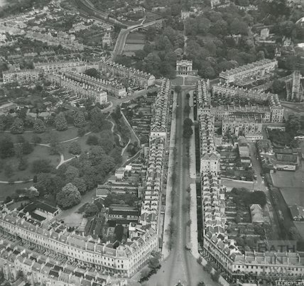 1951 Aerial view down Great Pulteney Street showing Pulteney Estate, Holburne Museum and Sydney Gardens