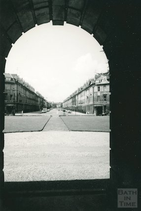 View from under the portico of the Holburne Museum down Great Pulteney Street, c.1960s