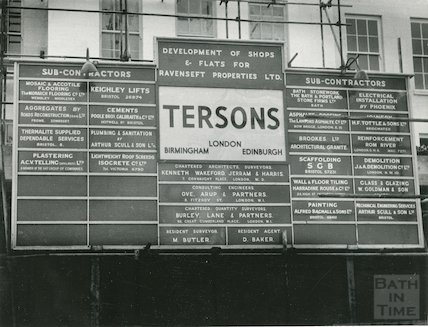 Building Contractor's sign for Arlington House construction, 1959-61