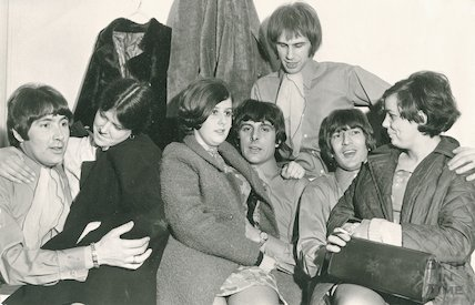 The Troggs and female fans backstage at the Pavilion, Bath, 11 March 1968
