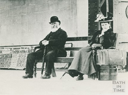 A Victorian lady and gentleman on the platform at Bath Spa Station c.1900 - detail