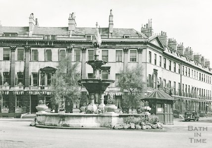 The fountain and Taxi Hut at Laura Place, Bath 1946/7