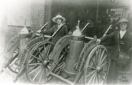 Mobile milk containers, Twerton Co-op, c.1920s