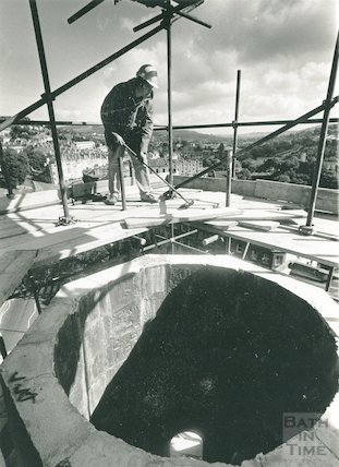 Restoring the spire of St Swithin's Church, Walcot, September 1989