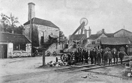 Workers at an unidentified coal pit in the Radstock area, c.1910