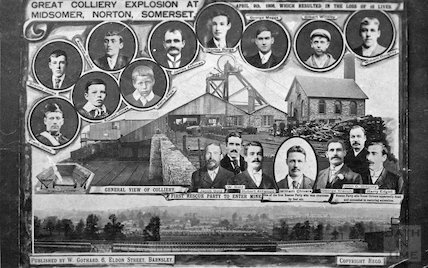 Postcard commemorating Norton Hill Colliery explosion, 1908