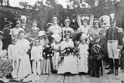 Group portrait of people most probably in fancy dress in the Radstock area, c.1920s