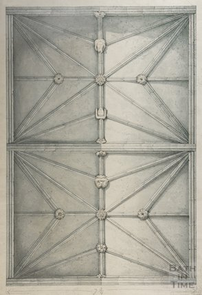 Architectural drawing of chancel roof of St Mary's Bitton by H.R. Perry, 1825