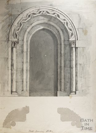 Scaled drawing of North doorway of St Mary's Church Bitton by HT Ellacombe, 1822