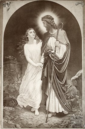 Lithograph of Christ and damsel unknown