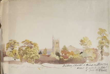 Watercolour of St Mary's Bitton and Kelston Round Hill unknown