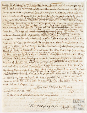 Manuscript letter to the Bishop of Oxford, the Revd Chandler, October 22 1756