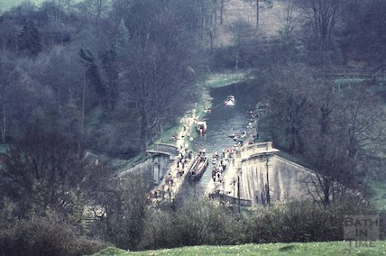 View of Dundas Aqueduct from the hillside, c.1980s