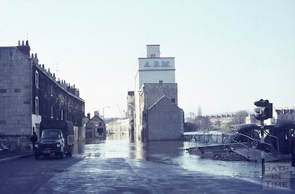 The flooded Lower Bristol Road, c.1963