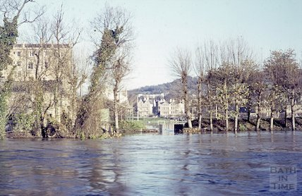 View across the flooded River Avon to the Recreation Ground, c.1963