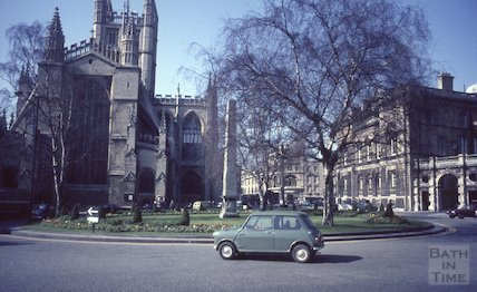 A mini on the roundabout at Orange Grove, Bath, c.1965