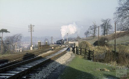 Engine no. 73006 on the Somerset & Dorset railway near Midsomer Norton, c.1965