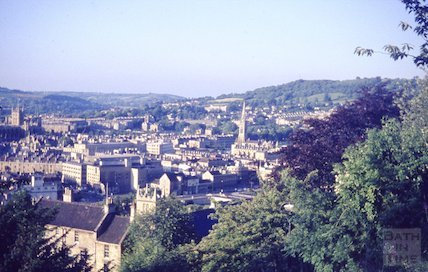 View of Bath from Beechen Cliff, looking over Broad Quay, c.1965