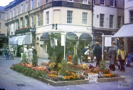 Floral display in Abbey Church Yard, Bath, c.1960s