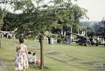 Military display of armaments, Royal Victoria Park, Bath, c.1960s