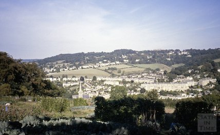 View over the allotments from Alexandra Park towards Widcombe, c.1970s