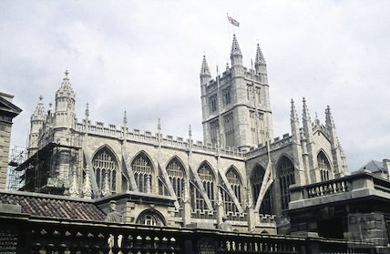 Bath Abbey undergoing restoration, c.1980s