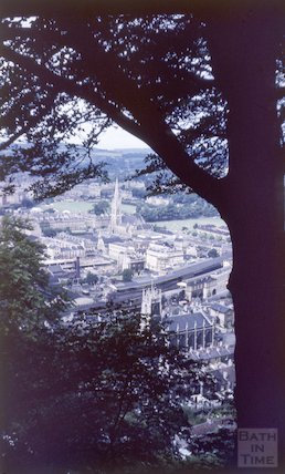 View of Bath from Beechen Cliff, showing the old bus station under construction, c.1959