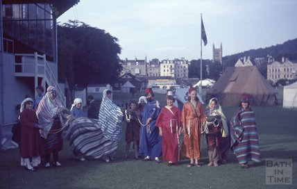 Bath girl guides in fancy dress on the Recreation Ground, c.1960s