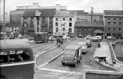 The first vehicles crossing the newly opened Churchill Bridge, Bath, 1 October 1965