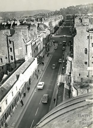 Looking down onto Pulteney Bridge from the roof of the Victoria Art Gallery, Bath, c.1960s