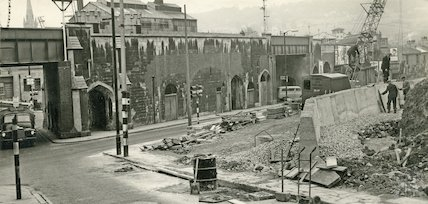 Construction of the new Wells Road at the foot of Holloway, Bath, c.1965