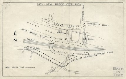 Plan for the new bridge over the river Avon at Bath, c.1964