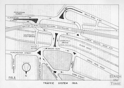 The new traffic system at the bottom of the Wells Road, 1966