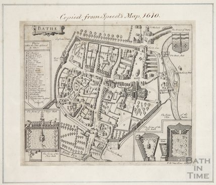 Map of Bath, copied from John Speed's Map of Bath 1610