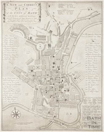 1776 A New and Correct Plan of the City of Bath