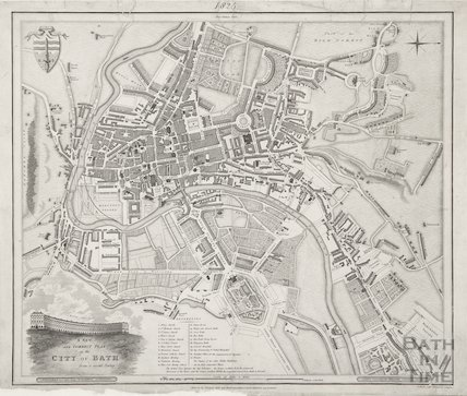 A New and Correct Plan of the City of Bath from a recent survey by B. Donne 1825