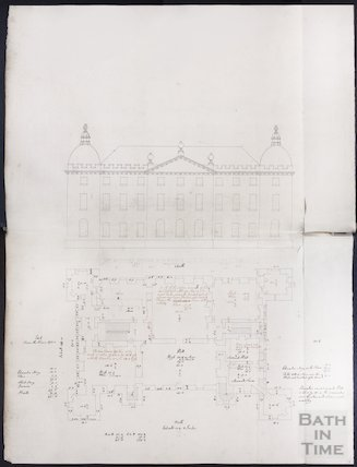 Elevation and ground floor plan by John Wood the elder, possibly of the Great House, Kelston, c.1750s